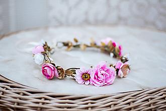 Ozdoby do vlasov - Ružový kvetinový venček - VÝPREDAJ - 12126437_