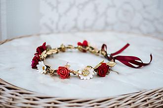 Ozdoby do vlasov - Červený kvetinový venček - VÝPREDAJ - 12126443_