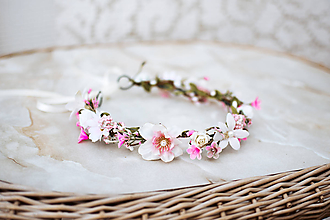 Ozdoby do vlasov - Ružový kvetinový venček - VÝPREDAJ - 12126455_