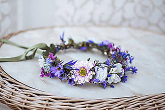Ozdoby do vlasov - Fialový kvetinový venček - VÝPREDAJ - 12126463_