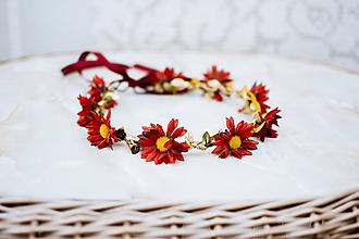 Ozdoby do vlasov - Červený kvetinový venček Margarétky - VÝPREDAJ - 12126466_