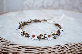 Ozdoby do vlasov - Biely kvetinový venček Margarétky - VÝPREDAJ - 12126477_
