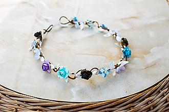 Ozdoby do vlasov - Modrý kvetinový venček - VÝPREDAJ - 12127215_