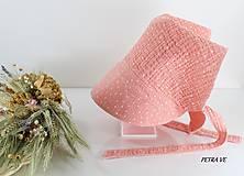 Detské čiapky - Detská šatka so šiltom - BROSKYŇOVÉ BODKY - 12128022_