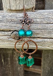 Náušnice - Smaragdové vinutkové s kruhmi - náušnice - 12125383_