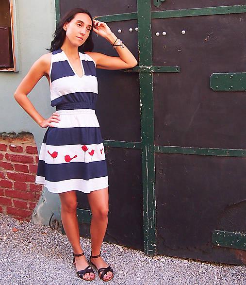 Šaty - Dámske maľované šaty - Dress Blue - 12126207_