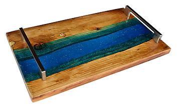 Nádoby - Podnos zo starého dreva epoxy - 12125830_