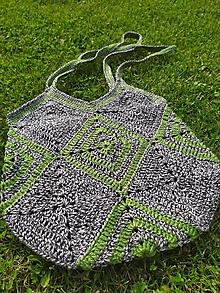 Veľké tašky - Háčkovaná taška sivozelená - 12125176_