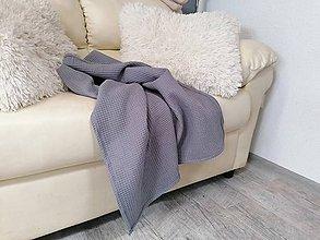 Textil - Vafľová sivá osuško-deka 100*150cm - 12129592_
