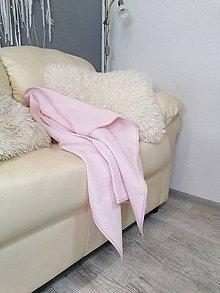 Textil - Vafľová svetloružová osuško-deka 100*75cm - 12129663_