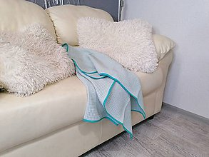 Textil - Vafľová mentolová osuško-deka 100*75cm - 12129664_