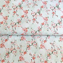 Textil - Sakura na modrej, 100 % predzrážaná bavlna Španielsko, šírka 150 cm - 12128572_