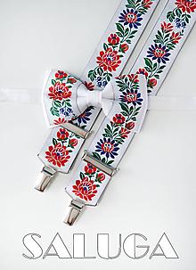 Doplnky - Folklórny pánsky biely motýlik a traky - folkový - ľudový - 12130610_