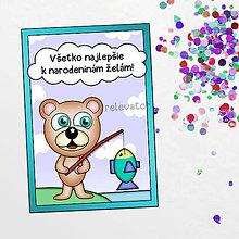 Papiernictvo - Macko Ivan pohľadnica - na rybách - 12130109_