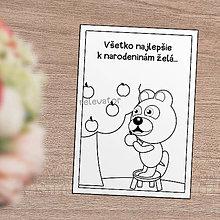 Papiernictvo - Omaľovánka/pohľadnica Macko Ivan - zber jabĺk - 12130792_