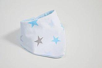 Detské doplnky - Nákrčník blue minky + modro-sivé hviezdy - 12132139_