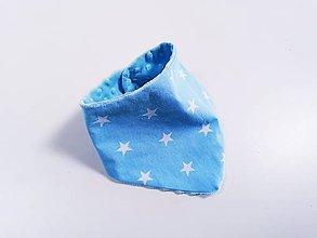 Detské doplnky - Nákrčník blue minky + modré hviezdy - 12132140_