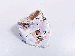 Detské doplnky - Nákrčník / šatka béžový medvedík + minky - 12132497_