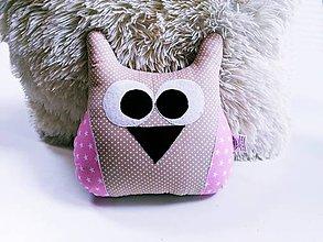 Textil - Sovička béžovo-ružová - 12132725_