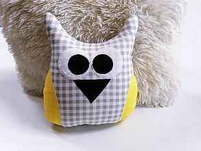 Textil - Sovička sivo-žltá - 12132739_
