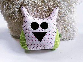 Textil - Sovička ružovo-zelená - 12132746_