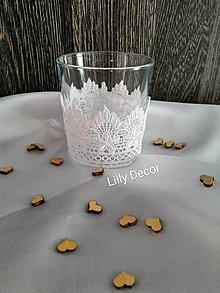 Svietidlá a sviečky - Svadobný svietnik biela krajka - 12135677_