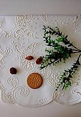 Úžitkový textil - Richellieu, Listy a drobné kvety, biela,  53 x 53 cm - 12135497_