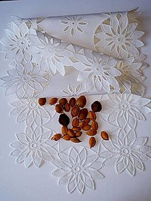 Úžitkový textil - Richellieu - Snehové vločky, biela,  90 x 34 cm - 12135452_