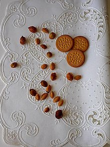 Úžitkový textil - Richellieu, Listy a drobné kvety, biela,  53 x 53 cm - 12135493_