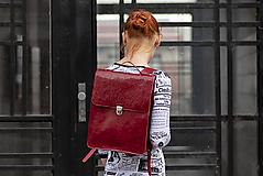 Batohy - Kožený batoh - červený - 12132690_