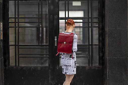 Batohy - Kožený batoh K 14 - červený - 12132690_