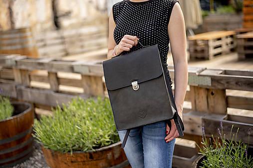 Batohy - Kožený batoh 23 - černý matný  - 12133433_