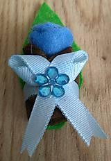 Pierka - Pierko modrá ružička z filcu - 12134064_