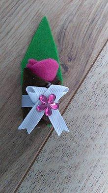 Pierka - Pierko ružová ružička z filcu - 12134105_
