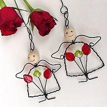 Dekorácie - Mini mimi andílek červenozelený - 12131825_