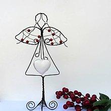 Dekorácie - Drátovaná andělka stojící červená - 12131830_