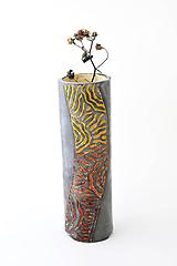 Dekorácie - Váza s prírodným ornamentom - 12131807_
