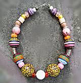 Náhrdelníky - Rosa- maľovaný krátky náhrdelník - 12135161_