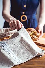 Úžitkový textil - Vrecko na chlieb z ľanového plátna - 12132756_