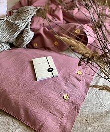 Úžitkový textil - Ľanové posteľné obliečky farba MAUVE - 12132159_