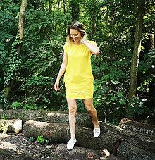 Šaty - Šaty rovný strih M15-el- veľkosť L, žltá - 12135215_