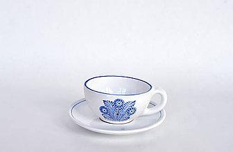 Nádoby - Šálka s  podšálkou modré pierko - 12136508_