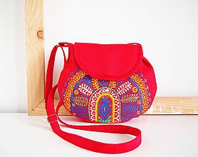 Kabelky - Maľovaná červená folk kabelka - 12138257_