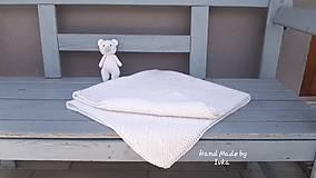 Textil - Detská deka + medvedík - biela - 12138412_