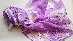 Šály - Šál hodvábny - lila abstrakt - 12137566_