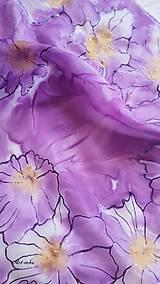 Šály - Šál hodvábny - lila abstrakt - 12137570_