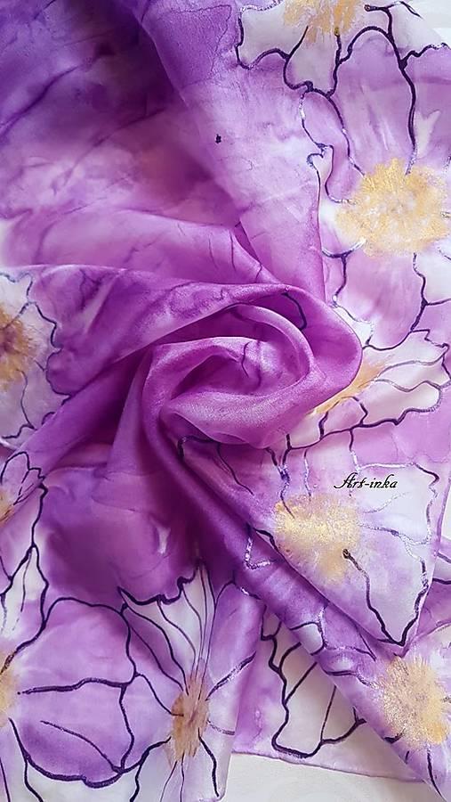 Šál hodvábny - lila abstrakt