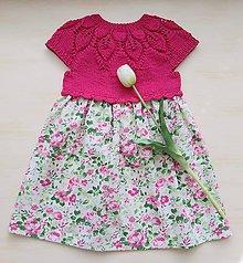 Detské oblečenie - Šaty cyklámenové s ružami - 12136607_