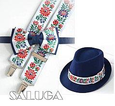 Doplnky - Set - pánsky klobúk, folklórny motýlik a traky - modrý - folk - 12137455_