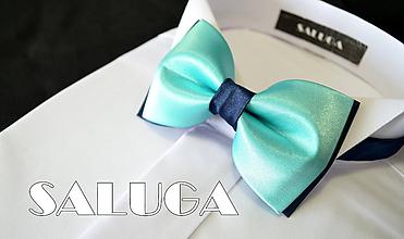 Doplnky - Mentolový (mintový) pánsky saténový motýlik s modrým (pánsky motýlik bez vreckovky) - 12137674_